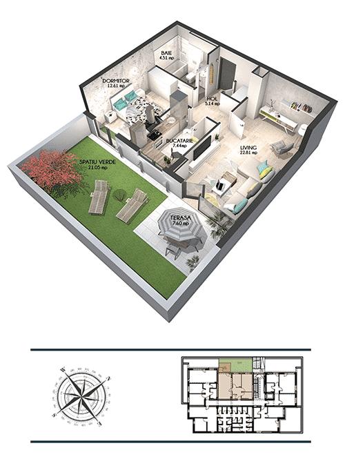 Apartamente cu grădină in Targoviste - Apartament Green Belview in Class Park