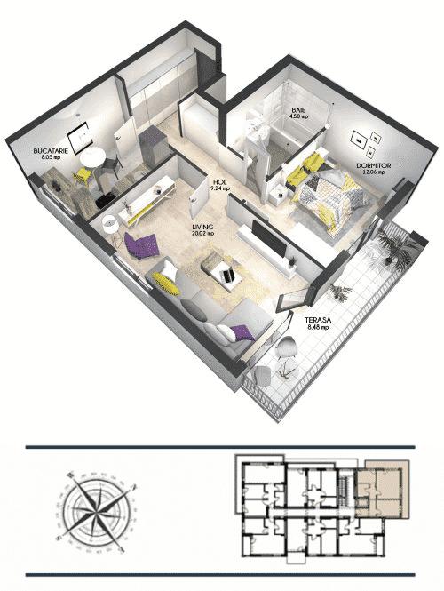apartament cu două camere